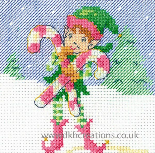 Maria Diaz Elf Candy Christmas Greeting Card Cross Stitch Kit